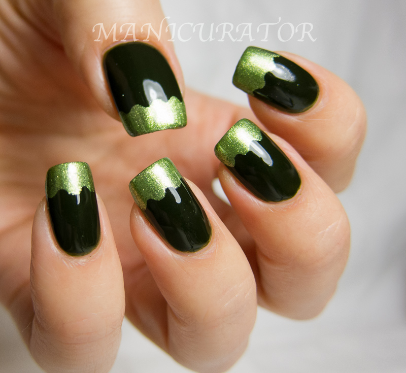 manicurator: 31DC: Day 4 - Green (funky french tips nail art)