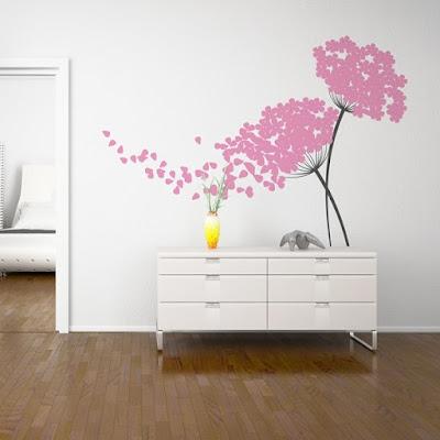 Vinilo Floral para paredes , diseño bicolor personalizable