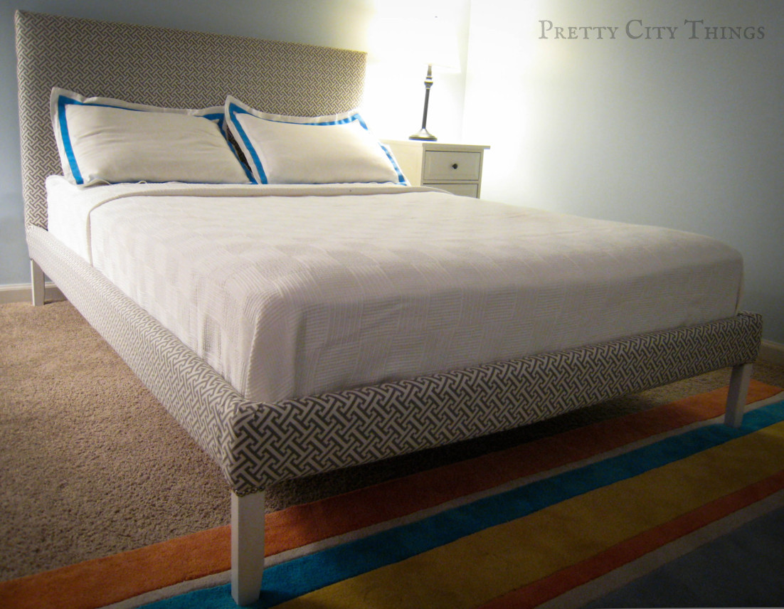Living pretty: upholstered bed: reveal & how to