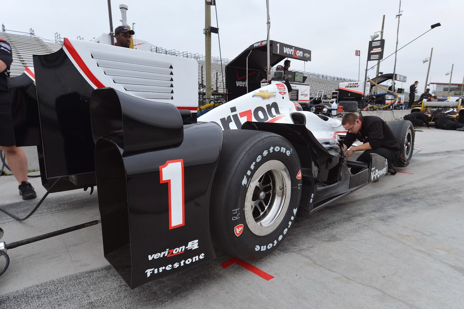 The rear bumper of Will Power's car.