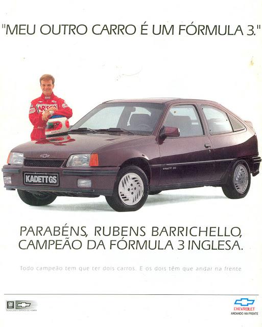 Rubens Barrichello como garoto propaganda no lançamento do Kadett (Chevrolet) em 1993. Na época, ele venceu a Fórmula 3 Inglesa.