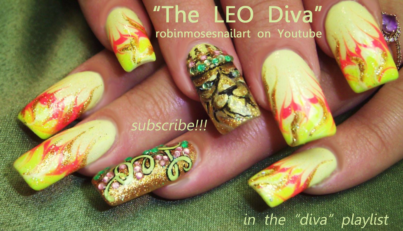 Nail Art Design: leo nail art, leo the lion nail, lion nail art ...