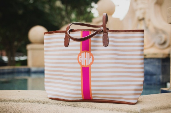 Barrington St. Anne Monogram Tote | Customize background, stripe color, initials and monogram style