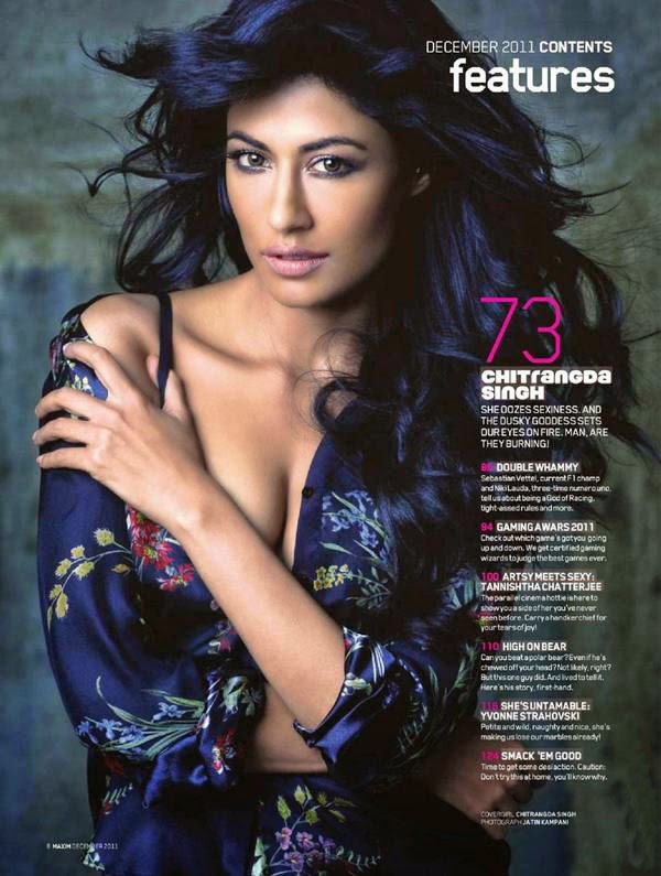 Chitrangada Singh open shirt cleavage in Maxim Magazine 2011