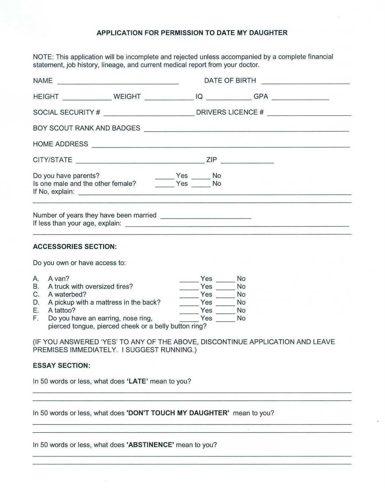 Daughter dating form