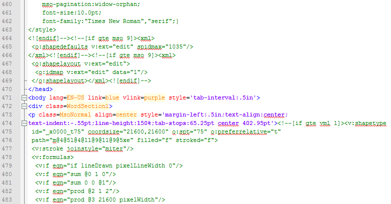 Dirty HTML Code produced by Microsoft Word