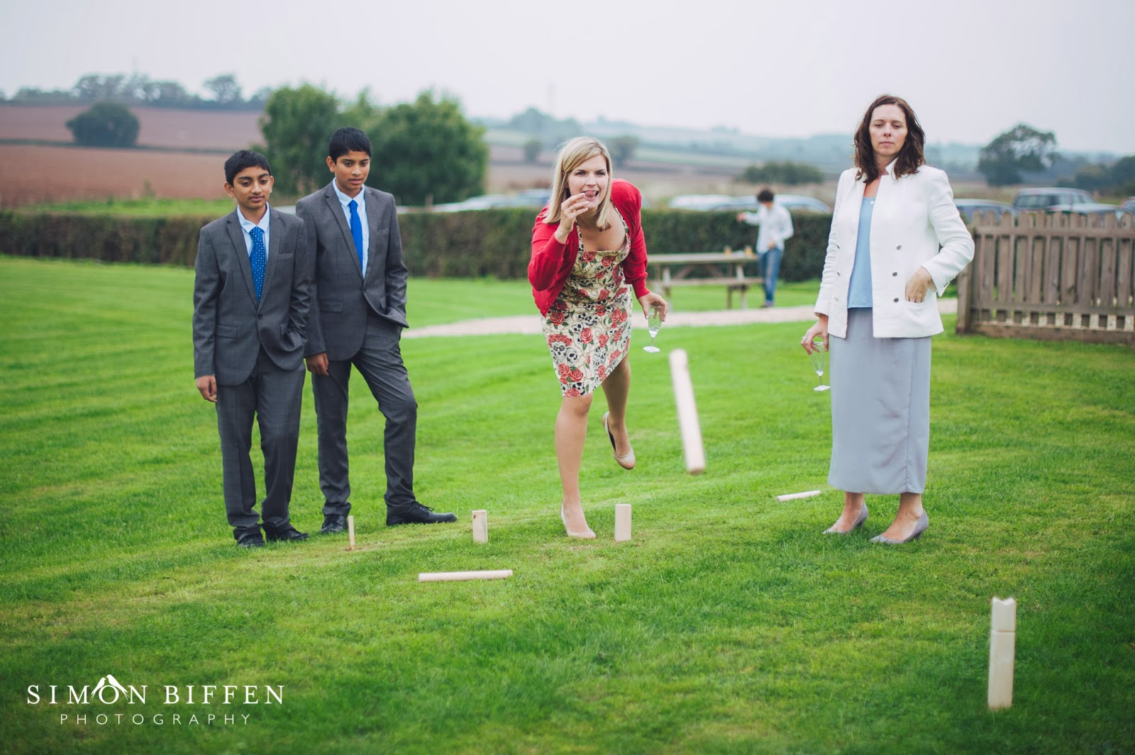 Garden games at Quantock lakes wedding
