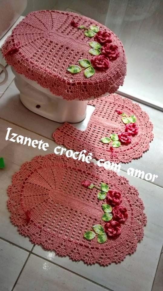 Crochê com amor PAP  Jogo de banheiro com flores aplicadas -> Jogo De Banheiro Simples Oval Passo A Passo