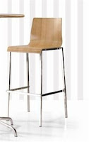 EHO Studios Polished Plywood Bar Stool with Chrome Legs - Set Of 2