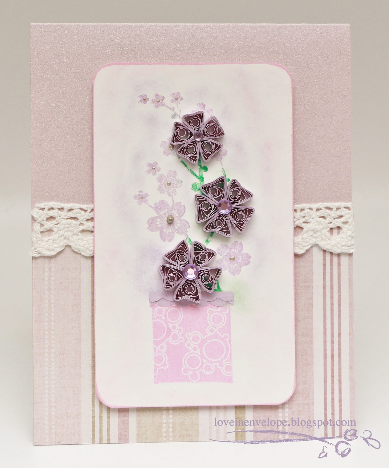 Love in Envelope: Quilling Purple Flowers Farewell Card ...