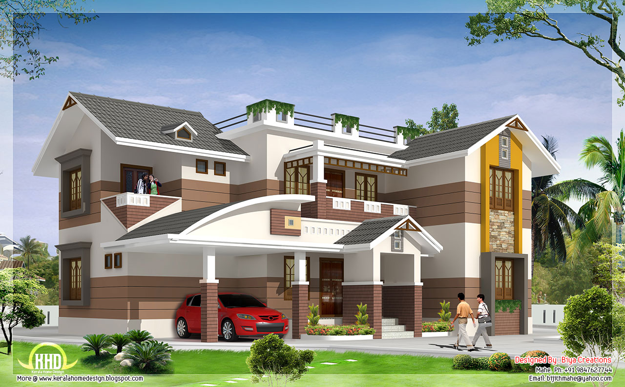 2700 beautiful 4 bedroom house elevation kerala for Home design beautiful