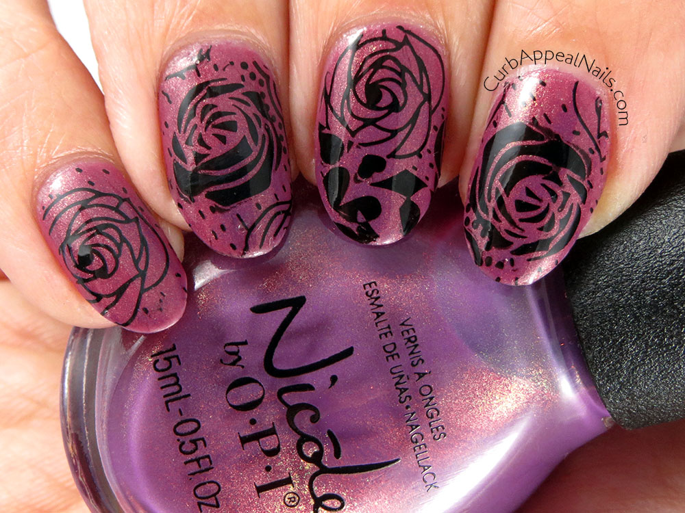 Nicole by OPI Purple Yourself Together Stamped with Pueen Roses
