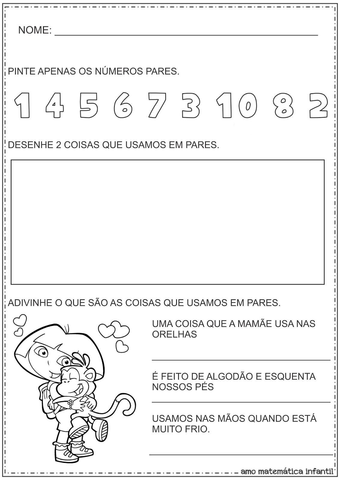 Números Pares Atividade Educação Infantil