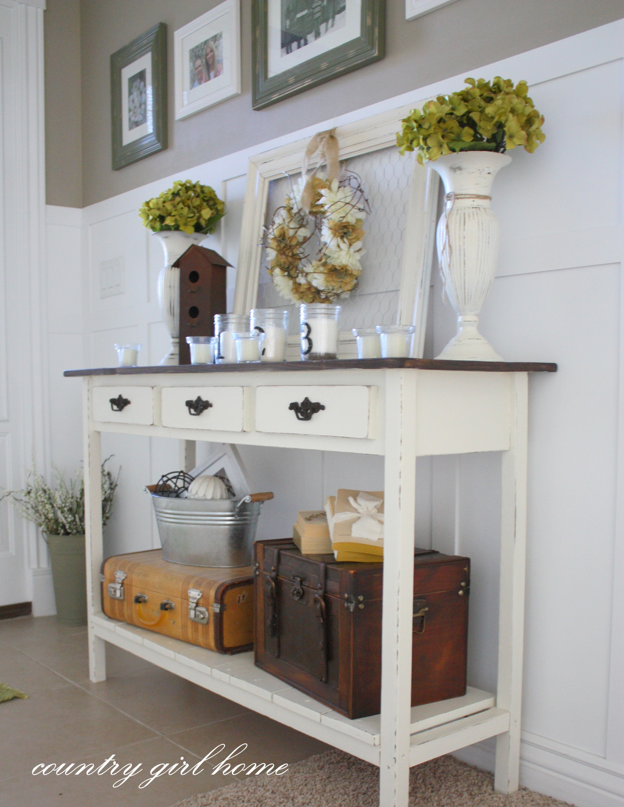 Country girl home added onto my diy entry table for Console table decor ideas