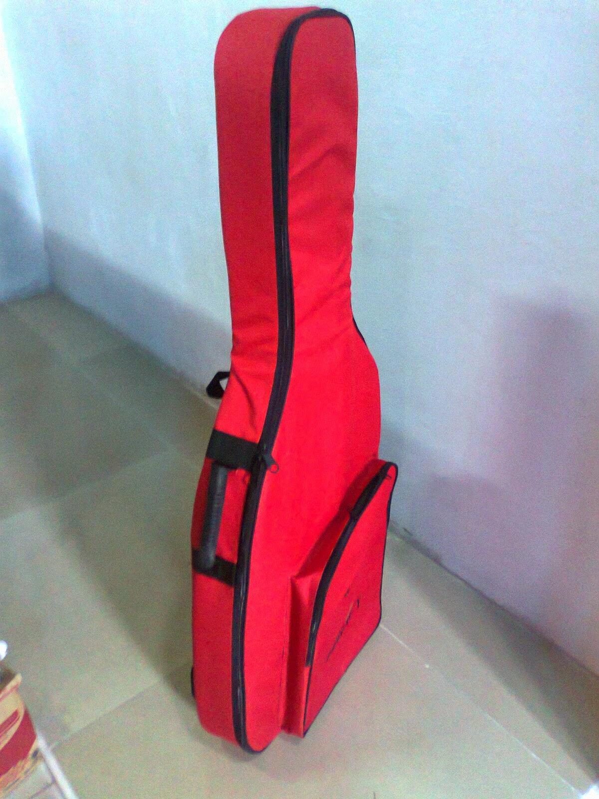 Tas Gitar Akustik Jumbo anti air murah warna merah
