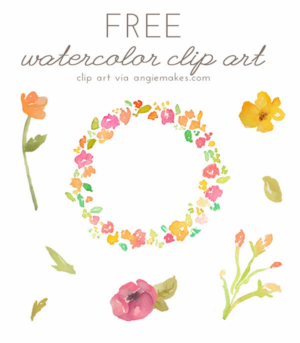 free, clip art, watercolor, floral, floral wreath, flowers clipart,