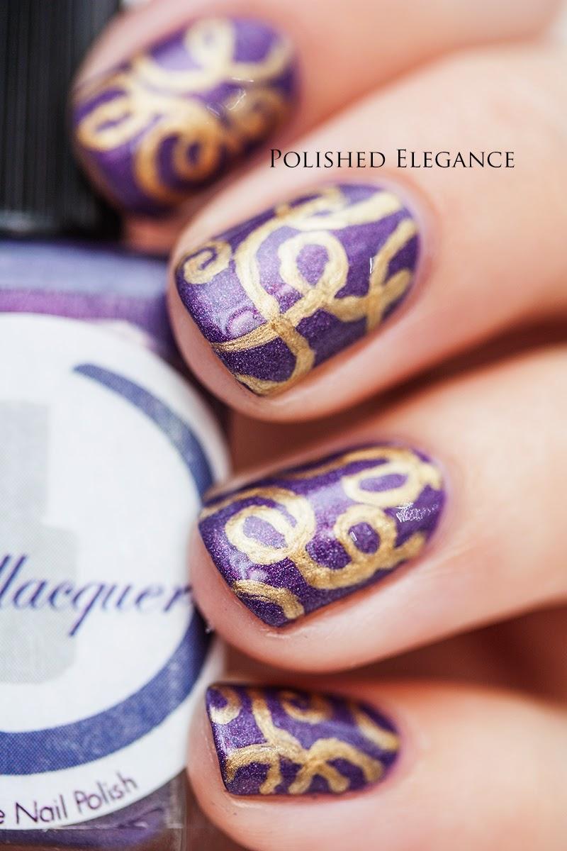 #arianightout nail art manicure purple gold swirly design manicure nail art