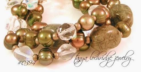 Green Mist Jasper, Pearl & Czech Glass Bracelet