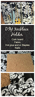 DIY necklace holder out of cork board and fabric, Organizing jewelery, The Style Sisters