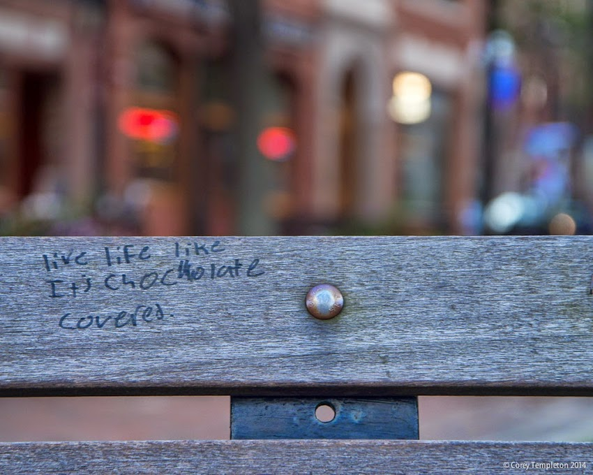 Portland, Maine 2014 photo by Corey Templeton random graffiti on a bench