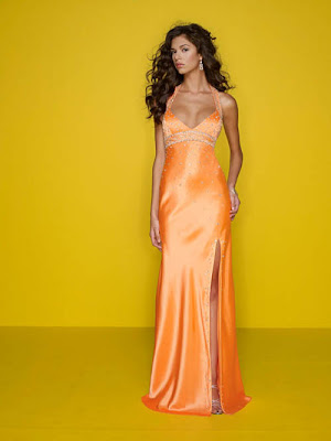 bright orange prom dresses