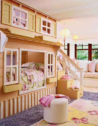 beautiful sleeping nook for girls