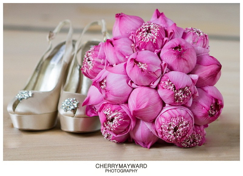 Steve Madden Wedding shoes and Pink Lotus boquet, Koh Samui wedding