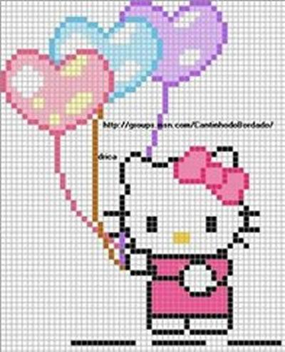 Hello Kitty Bordada em Ponto Cruz