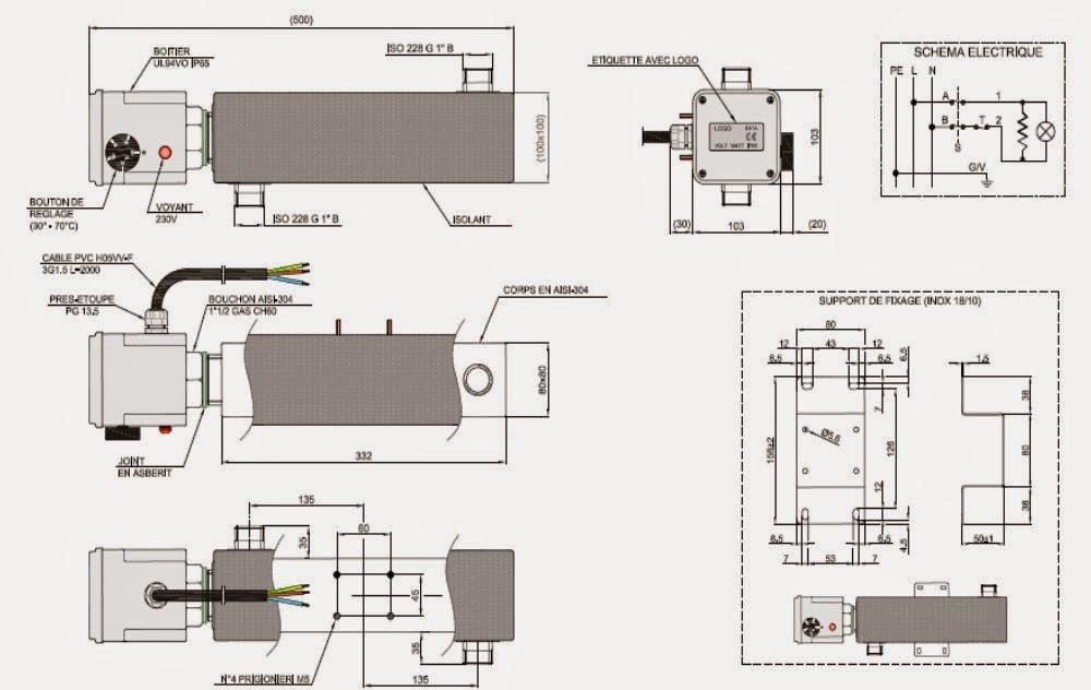 Plan du réchauffeur de boucle 3kw pour plancher chauffant