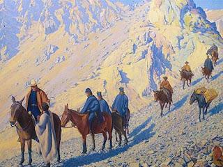 'San Martín en el Portillo', óleo del maestro catalán don Fidel Roig Matóns (c.1920) extraído de www.sanmartinianostdf.org.ar