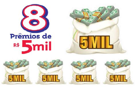 Ainda tem mais! São 8 prêmios especiais ( Rio de Prêmios ) no valor de 5 mil que você pode gastar do jeito que quiser.