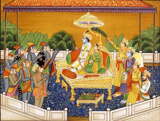 Lord Rama and Goddess Sita and Devotees Varnaras with His Devotee Hanuma