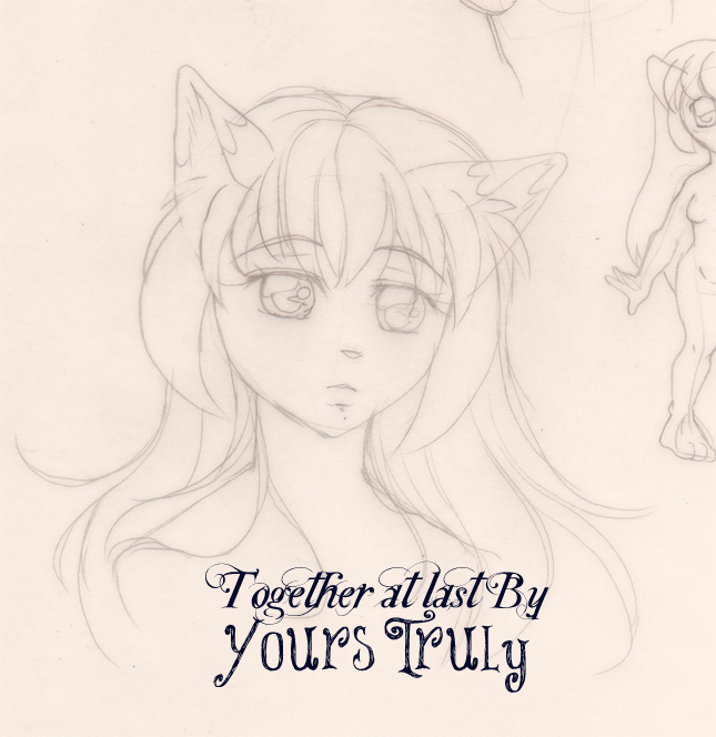 pencil sketch fox girl