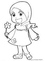 Mewarnai Gambar Muslimah Kecil Memetik Bunga Ditaman