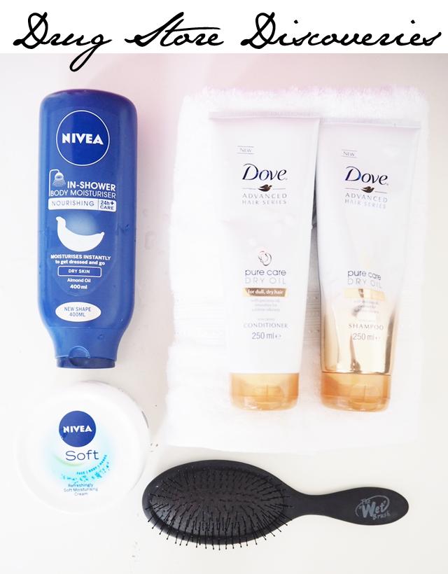 Dove Dry Oil Shampoo and Nivea In shower moisturizer