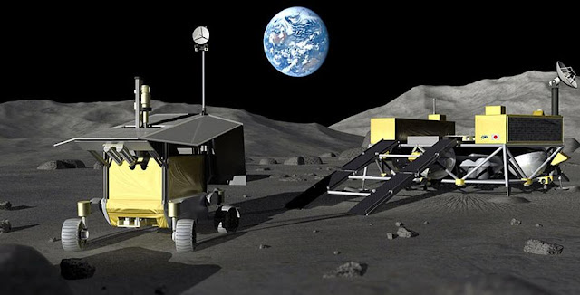 An artist's rendition of a probe at the south pole of the moon. Credit: JAXA
