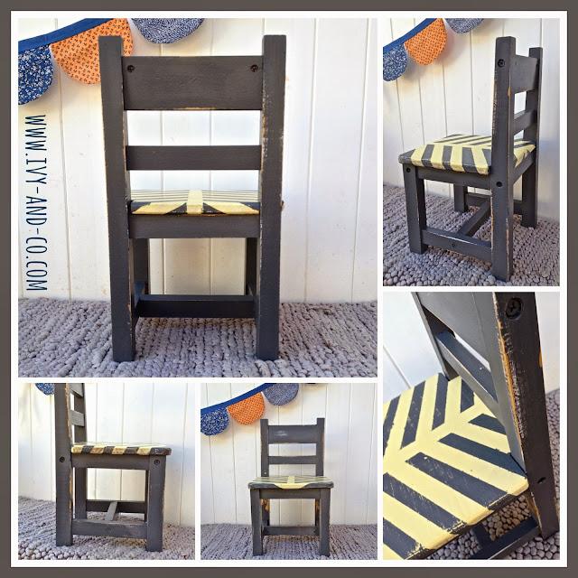 herringbone chair grey yellow