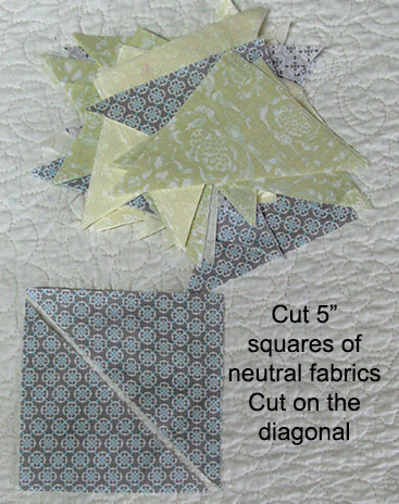 Cut up 5 inch squares on diagonal