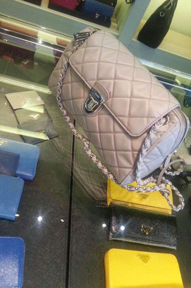 Prada Tessuto Impuntu Quilted Flap Bag with Chain