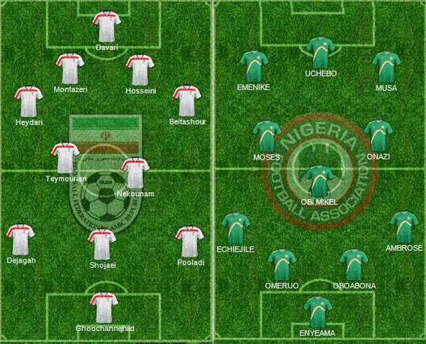 FIFA World Cup 2014 - Iran Vs Nigeria Starting Lineups