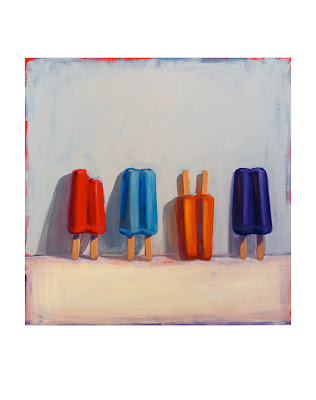 original Junk food painting of four popsicles