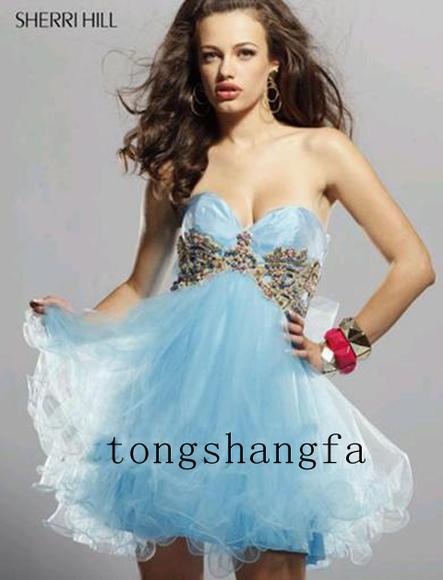New fashion mall light blue short bridesmaid dresses for Short light blue wedding dress