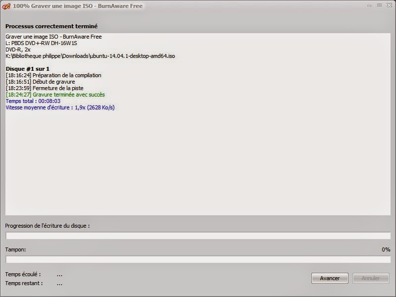 j'ai donc réutilisé BurnAware pour graver le iso sur un DVD