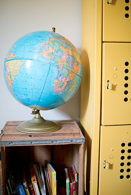 Globe, crate, and yellow lockers