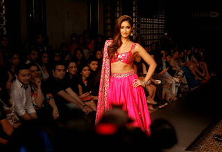 Ileana D Cruz Walks the Ramp in Lovely Spicy Pink Lehenga Choli at Lakme Fashion Week Winter Festive 2014