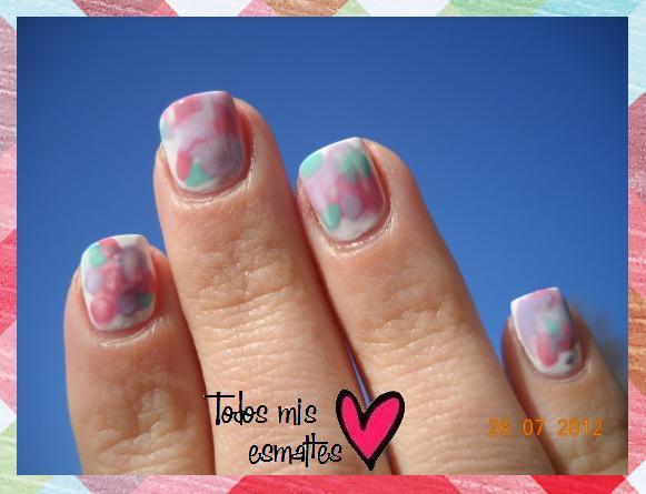 Uñas marmoladas nail art tutorial