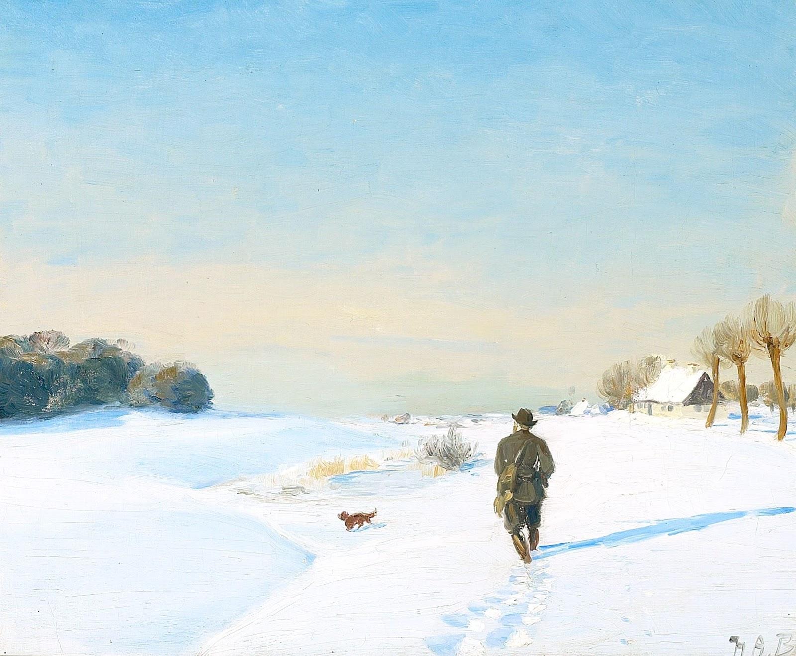 Hans Andersen  rendekilde J C Ager med hund p C A en klar vinterdag