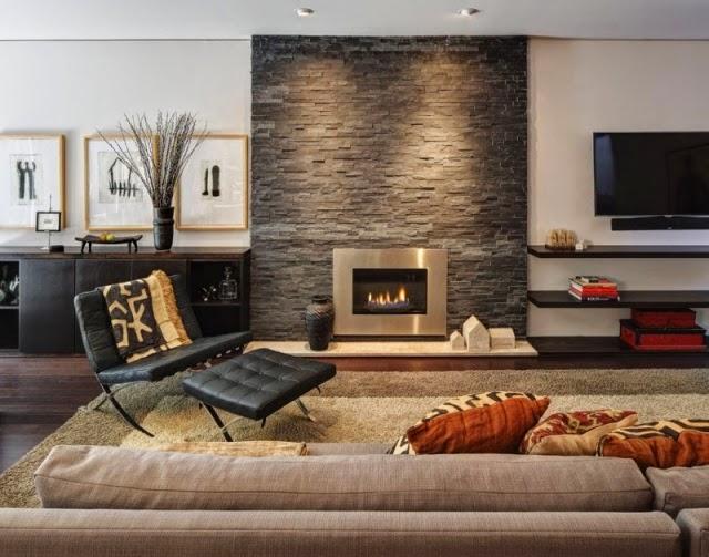 Dise os de salas modernas con chimenea salas con estilo - Revestimientos de chimeneas rusticas ...