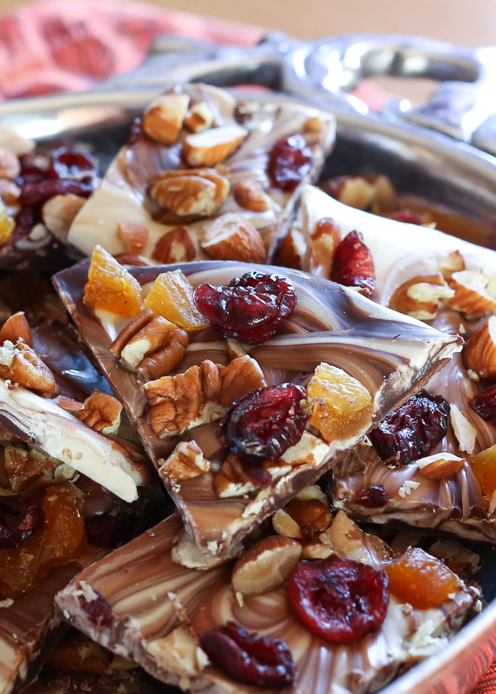 Fruit and Nut Chocolate Bark is perfect for holiday gifts - by Barefeet In The Kitchen
