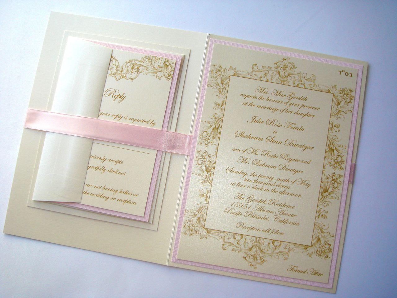 Vintage Champagne, Gold and Blush Pink Wedding Invitation ...